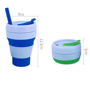 12oz Silicone Collapsible Reusable Mug With Straw